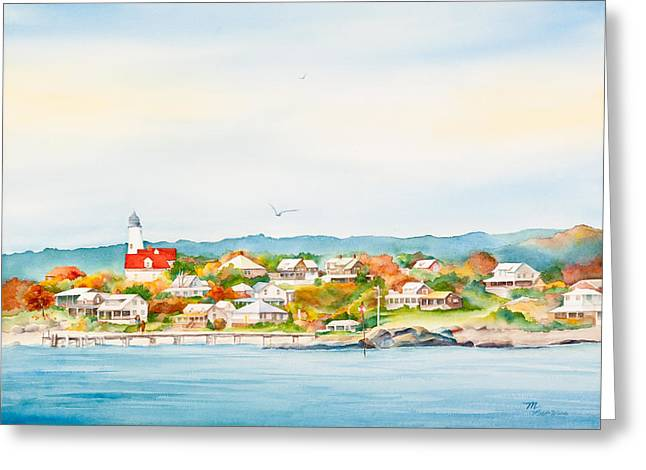 Baker Island Greeting Cards - Bakers Island Lighthouse in Autumn Watercolor Painting Greeting Card by Michelle Wiarda