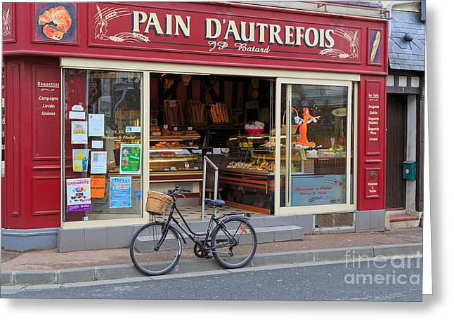 French Bicycle Shop Greeting Cards - Bakery and Pastry shop in Etretat Greeting Card by Louise Heusinkveld