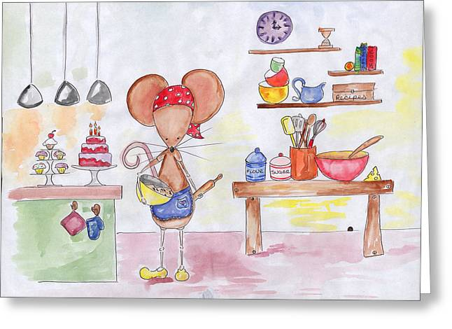 Bakery Mouse Greeting Card by Sarah LoCascio