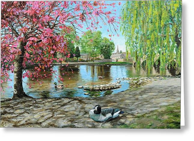 Duck Pond Greeting Cards - Bakewell Bridge - Derbyshire Greeting Card by Trevor Neal