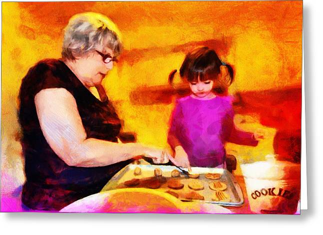 Child Care Mixed Media Greeting Cards - Baking Cookies with Grandma Greeting Card by Nikki Marie Smith