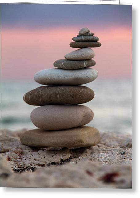 Colored Stones Greeting Cards - Balance Greeting Card by Stylianos Kleanthous