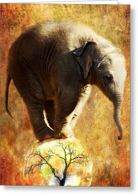 Elephants Digital Art Greeting Cards - Balance Greeting Card by Trudi Simmonds