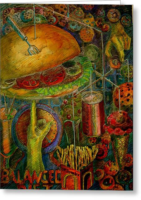 Food Pastels Greeting Cards - Balanced Diet Greeting Card by Betty OHare