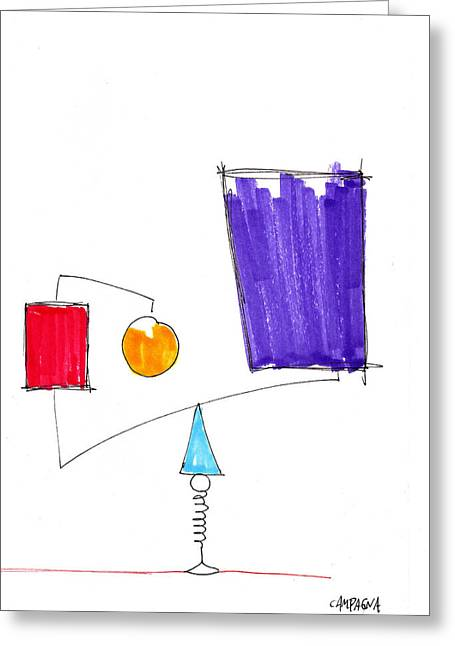 Violet Blue Drawings Greeting Cards - Balancing Act Greeting Card by Teddy Campagna