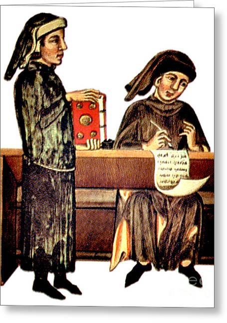 Bookkeeping Greeting Cards - Balancing The Books, 14th Century Greeting Card by Photo Researchers
