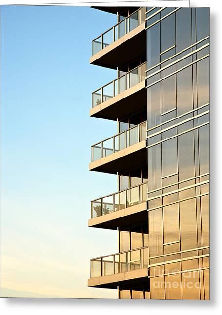 Angular Greeting Cards - Balconies on Skyscraper Greeting Card by David Buffington