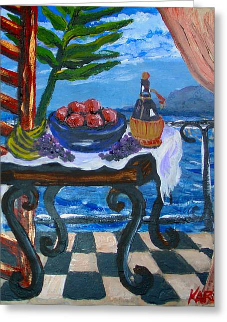 Italian Wine Greeting Cards - Balcony by the Mediterranean Sea Greeting Card by Karon Melillo DeVega
