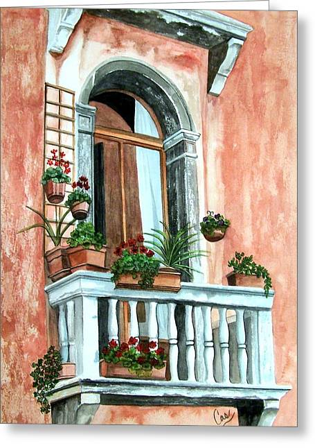 Balcony In Venice Greeting Card by Karen Casciani