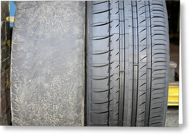 Bald And New Tyres Greeting Card by Cordelia Molloy