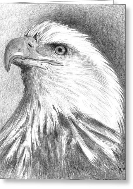 Eagle Drawing Greeting Cards - Bald Eagle Greeting Card by Arline Wagner