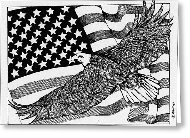 Flag Of Usa Drawings Greeting Cards - Bald Eagle Over American Flag Greeting Card by Donald Aday