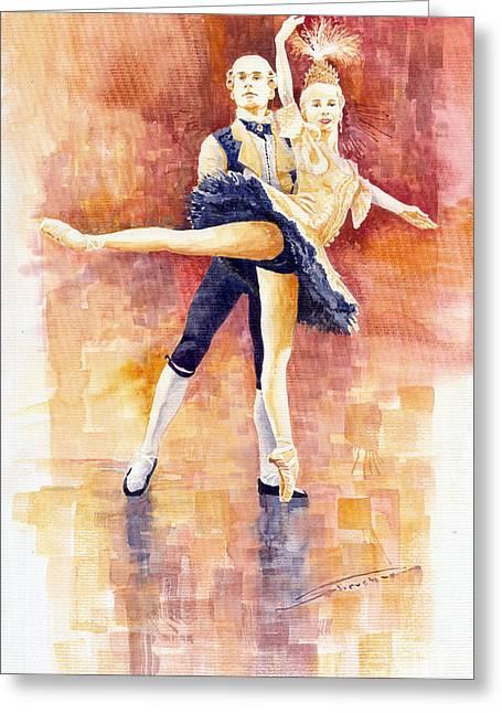 Watercolour Paintings Greeting Cards - Balet 01 Greeting Card by Yuriy  Shevchuk