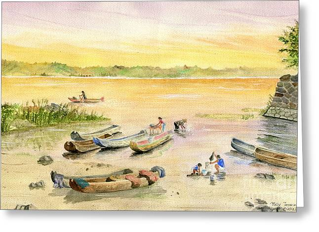 Fishing Boats Greeting Cards - Bali Fishing Village Greeting Card by Melly Terpening
