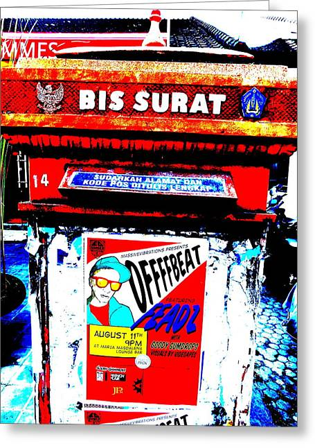 Postboxes Greeting Cards - Bali Graffitied Funky Postbox Greeting Card by Funkpix Photo Hunter