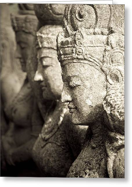 Religious Artwork Photographs Greeting Cards - Bali, Indonesia, Asia Stone Statues Greeting Card by Keith Levit