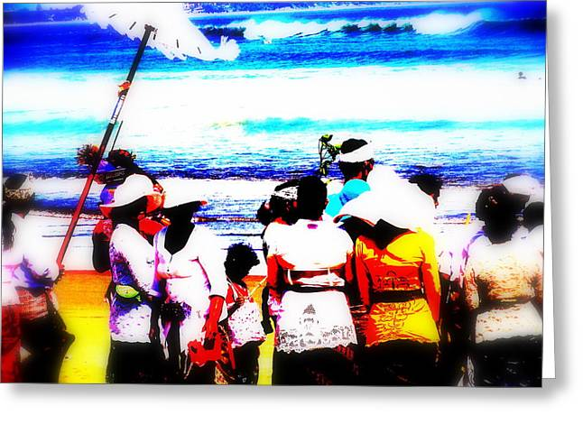Balinese Beach Funeral  Greeting Card by Funkpix Photo Hunter