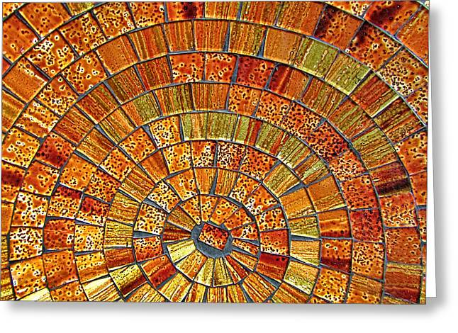 Unique Art Glass Art Greeting Cards - Balinese Glass Tile Art - Brown Greeting Card by Mark Sellers