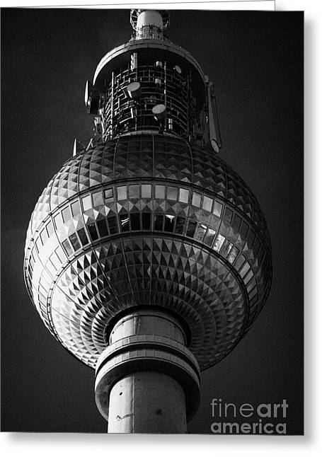 Deutschland Greeting Cards - ball of the berliner fernsehturm Berlin TV tower symbol of east berlin Germany Greeting Card by Joe Fox