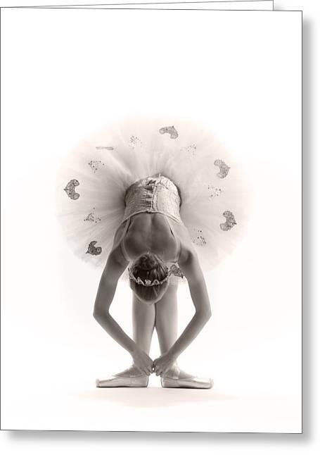 White Ballerina Greeting Cards - Ballerina bent Greeting Card by Steve Williams