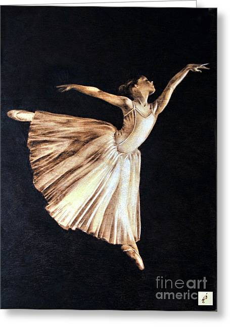 Ballerinas Pyrography Greeting Cards - Ballerina Greeting Card by Ilaria Andreucci