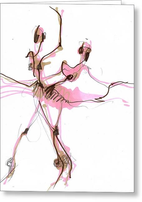 Dancer Greeting Cards - Ballerina In Pink Tutu Or Sugar Plum Greeting Card by Lousine Hogtanian