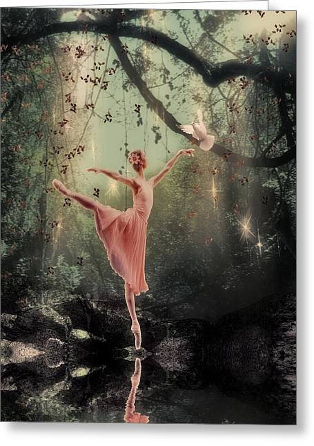 White Digital Greeting Cards - Ballerina Greeting Card by Lee-Anne Rafferty-Evans