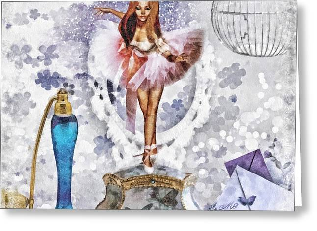 Ballerina Mixed Media Greeting Cards - Ballerina Greeting Card by Mo T