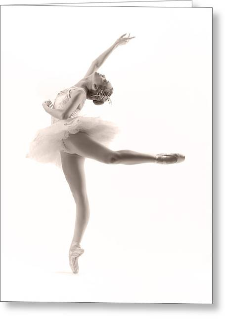 White Greeting Cards - Ballerina Greeting Card by Steve Williams