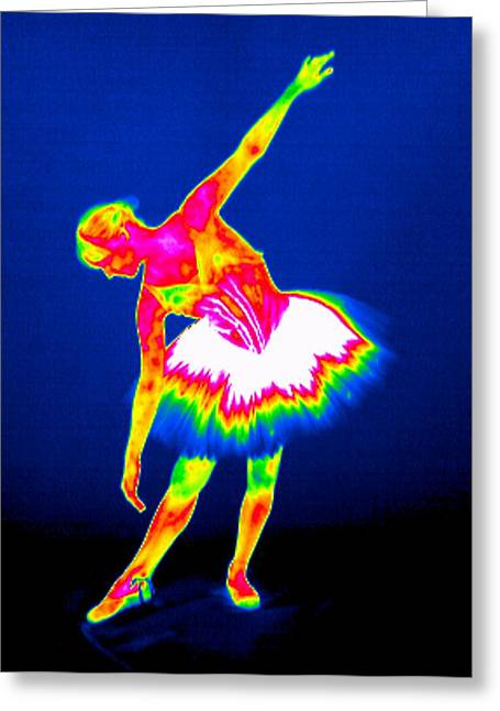 Bowing Greeting Cards - Ballerina, Thermogram Greeting Card by Tony Mcconnell