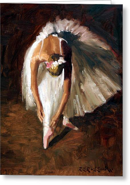 White Dress Paintings Greeting Cards - Ballerina with pink shoes Greeting Card by Roelof Rossouw
