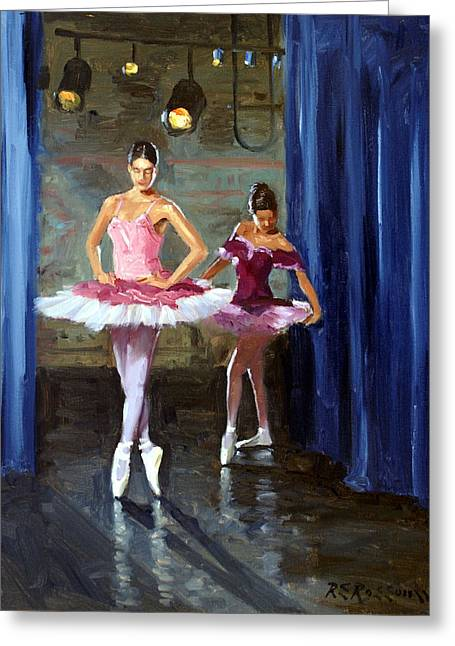 Stage Lights Greeting Cards - Ballerinas Backstage Greeting Card by Roelof Rossouw