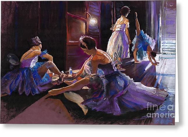 Ballet Behind the Scenes Greeting Card by Yuriy  Shevchuk
