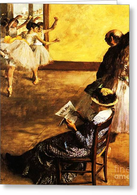 Dance Class Greeting Cards - Ballet Class  The Dance Hall Greeting Card by Pg Reproductions