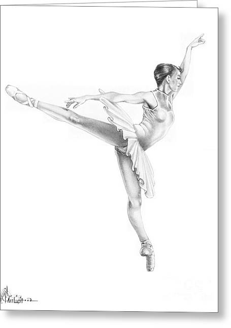 Pencil Drawing Greeting Cards - Ballet Dancer Greeting Card by Murphy Elliott