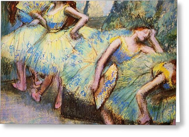 Ballet Dancers in the Wings Greeting Card by PG REPRODUCTIONS