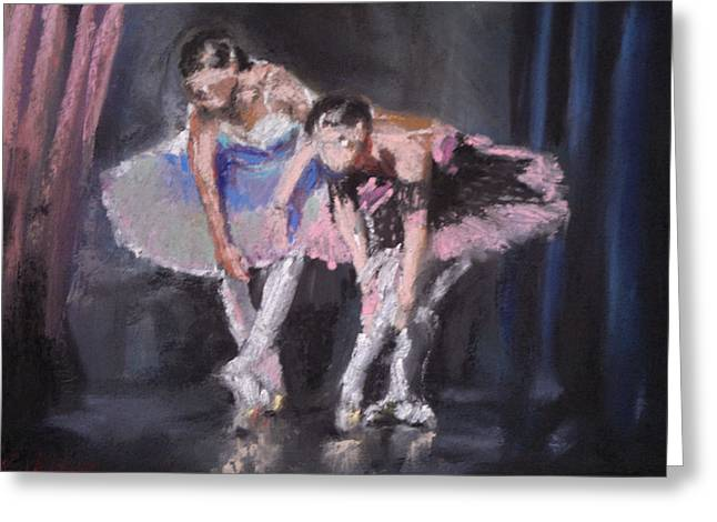Rehearsal Pastels Greeting Cards - Ballet Dancers Warming Up Greeting Card by Paul Mitchell