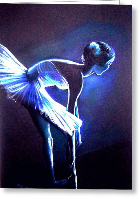 Ballet Dancers Drawings Greeting Cards - Ballet in Blue Greeting Card by L Lauter
