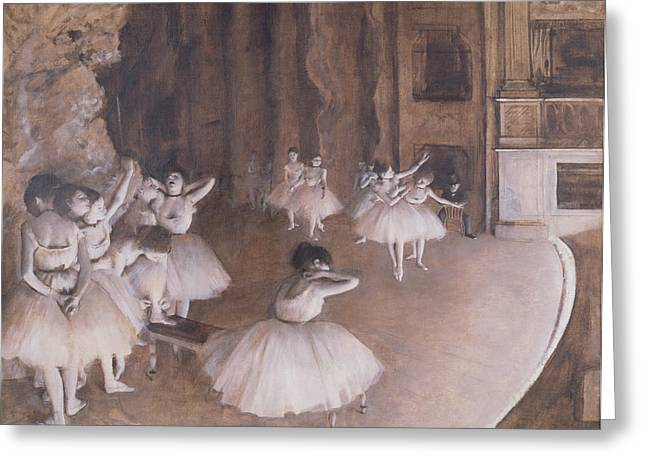 Rehearsing Greeting Cards - Ballet Rehearsal on the Stage Greeting Card by Edgar Degas