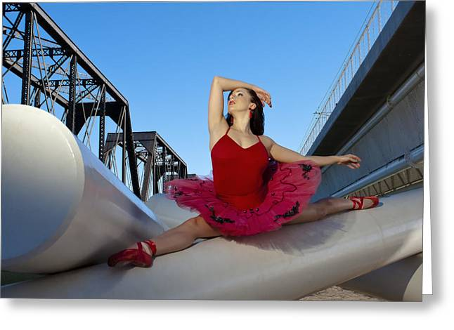 Ballet Splits Greeting Card by Michael Yeager