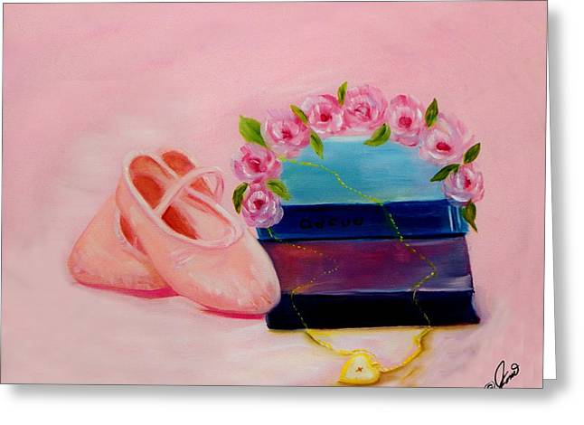 Dance Ballet Roses Paintings Greeting Cards - Ballet Still Life Greeting Card by Joni M McPherson