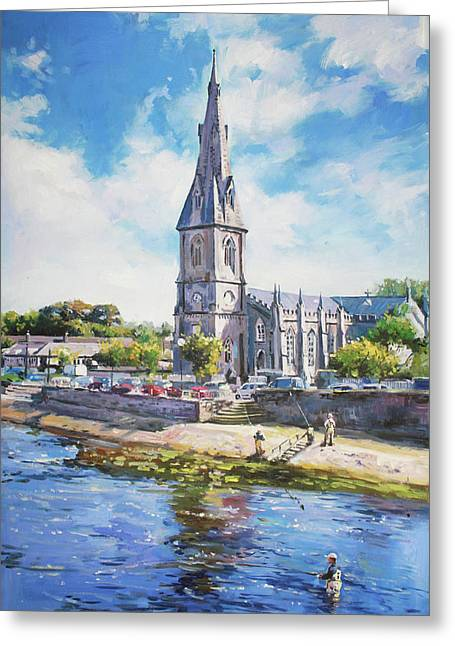 Reflections In River Greeting Cards - Ballina Cathedral on River Moy Greeting Card by Conor McGuire
