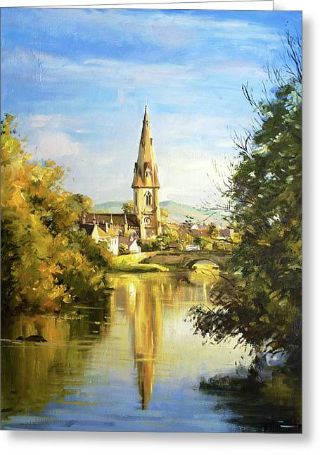 Salmon Paintings Greeting Cards - Ballina Cathedral Spire Greeting Card by Conor McGuire