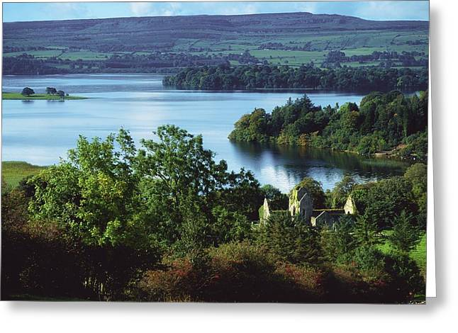Sligo Greeting Cards - Ballindoon Abbey, Lough Arrow, County Greeting Card by The Irish Image Collection
