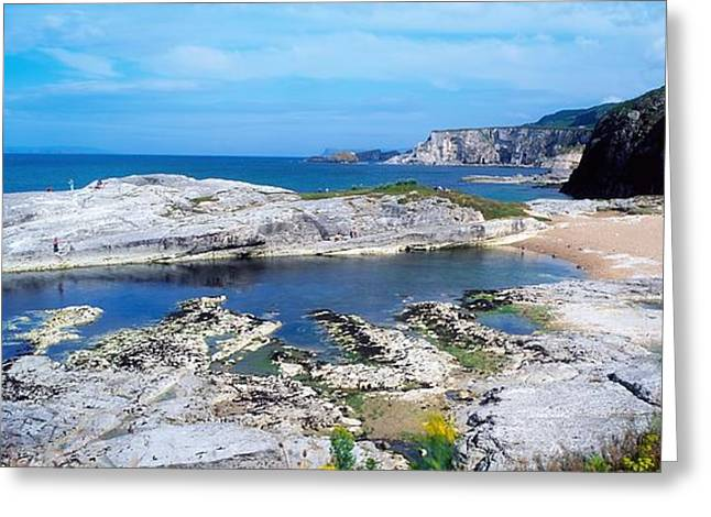 Ocean Panorama Greeting Cards - Ballintoy Harbour, Co Antrim, Ireland Greeting Card by The Irish Image Collection