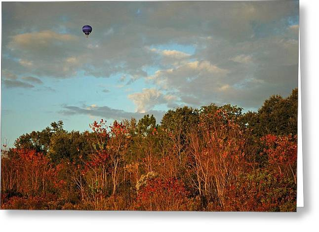 Balloon Flower Digital Art Greeting Cards - Ballon over Burning Trees Greeting Card by Michael Thomas