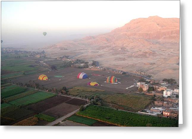 Hathor Greeting Cards - Ballons Over the West Bank Greeting Card by Richard Deurer
