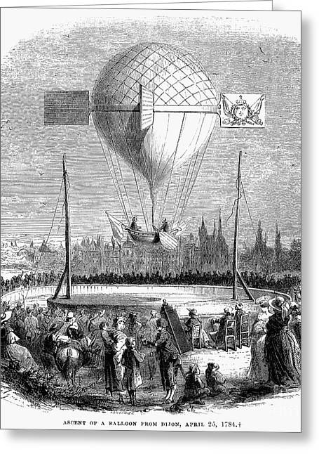 Dijon Greeting Cards - Balloon Ascent, 1784 Greeting Card by Granger