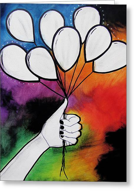 Illustrative Mixed Media Greeting Cards - Balloon Canvas Greeting Card by Sarah Stonehouse