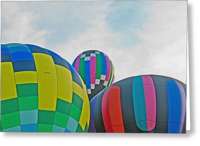 Three Hot Air Balloons Greeting Cards - Balloon Cluster Greeting Card by Carolyn Meuer-Pickering of Photopicks Photography and Art